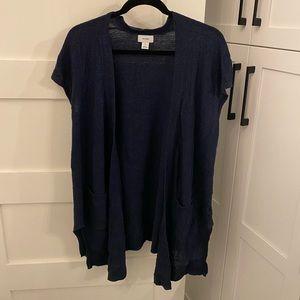 Short sleeve navy blue cardigan